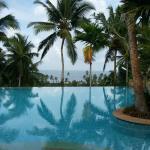 View of Taj Kovalam pool and Arabian Sea from Jasmine Bay restaurant