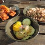 Kelaguen Mannock with titivas and cucumber salad