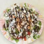 Lamb Pita Gyro with 2 Falafels  Lamb Salad Gyro dish