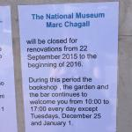 Chagall Museum is CLOSED!!