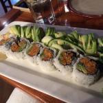 Delicious sushi! Sweet Potato maki, golden dragon roll with avocado and chicken/shrimp teriyaki.