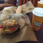 """The Western on a """"Works"""" bagel — one of the best bagel sandwiches I've ever had!"""