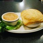 Chicken pot pie and warm applesauce