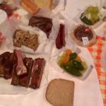 ribs, brisket, jalapeno sausage, pulled pork, banana putting, pecan ie
