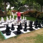 A huge chessboard at the entrance