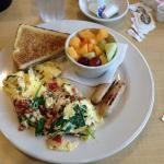 Eggs and Spinach with Veggie Sausage, Fresh Fruit and Toast