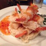 Crispy Shrimp with Thai Chili Sauce, Horseradish Rice, and Salt & Pepper Green Beans