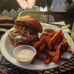 Burger with sweet potato fries