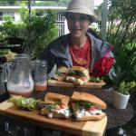 Sandwiches, Waldorf and Potato salad