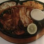 Fajita Talapia sautéed with onions,bell peppers, tomatoes, rice, beans and tortillias!