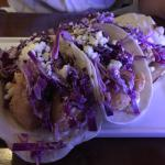 Mahi Mahi fish tacos. Good portion, lots of fish, flavorful toppings and hot sauce on the side.