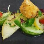Dunsyre blue croquettes with heritage tomatoes