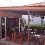 restaurant terrace with Christina