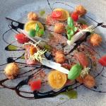 Texture of Isle of Wight tomato, confit shallot, bloody mary jelly and crispy halloumi