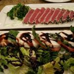 Tuna sashimi and caprese salad