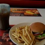 Burger, fries, and chocolate Coke