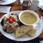 My soup (curried squash) and Quinoa salad.