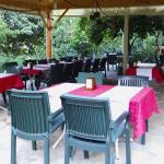Nice restaurant terrace in a mediterranean garden
