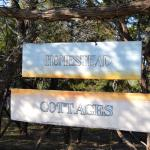 Sign at the entrance to the cabins and cottage