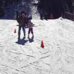kid skiing down