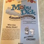 Moby Dick menu