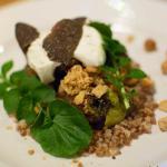 Wood-roasted Jerusalem artichokes and sprout hearts, toasted buckwheat, truffle, labna and hazel