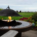 Fire pit and view of Victoria