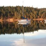 A sailboat on Miner's Bay from Springwater Lodge, Mayne Island, British Columbia, Canada