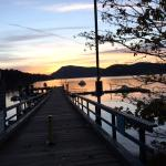 Sun is beginning to set on Miner's Bay from Springwater Lodge, Mayne Island, British Columbia, C