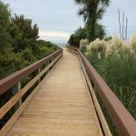 Long walkways from parking to beach