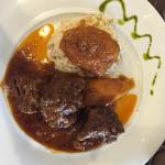 Sofigado, Lefkadian beef with baked apple and sweet and sour sauce. Tasty!
