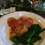 Butternut squash ravioli with polenta and broccolini