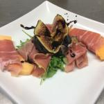 Prosciutto with fresh fig and balsamic glaze