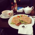 smoked salmon sandwich and tea