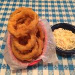 Side of slaw and appitizer onion rings