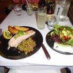 Atlantic salmon steak with side salad.