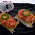 Crispy rice with spicy tuna