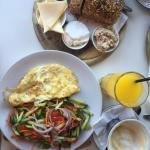 "Amazing breakfast "" Israeli breakfast""  from the menu. Great place to eat breakfast and enjoy th"