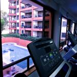 view of the pool from the gym