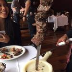 Steak is being served