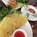 Traditional vietnamese stuffed pancake & fried spring rolls. Crispy!
