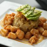 Chicken Japadom: Mofongo with Breaded Chicken, Avocado and Honey Sauce