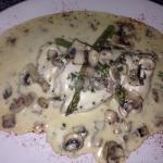 Calzone, chicken asparagus mushroom in a creamy white wine sauce (with veg), mushrooms in garlic