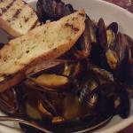 Amazing dinner! Garlic shrimp  oreganata, mussels pomododoro, and their fabulous bread (and wine