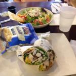 Citrus chicken wrap (front) and half Summer Salad (back)