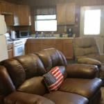 Americana Cabin: kitchen and living room space