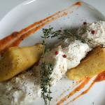 Cod fish with hot fried polenta