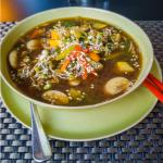 Japanische Nudelsuppe ; Japanese noodle soup with vegetables and Soba buckwheat noodles
