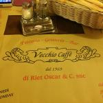 Vecchio's welcoming placemat!