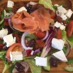 Off menu... Smoked Salmon & Goats Cheese Salad with Olives